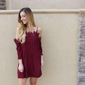 burgundy pleated dress